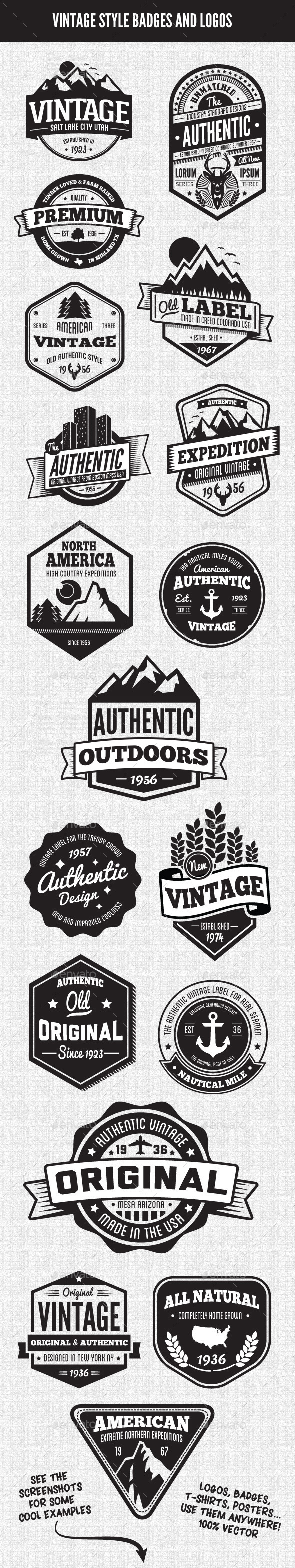 Vintage Style Badges and Logos Vol 3