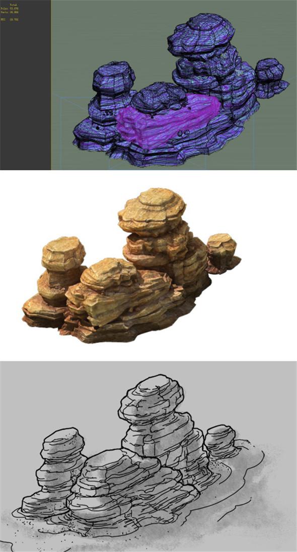 Game Model - Desert Gobi - Wind Stone 05 - 3DOcean Item for Sale