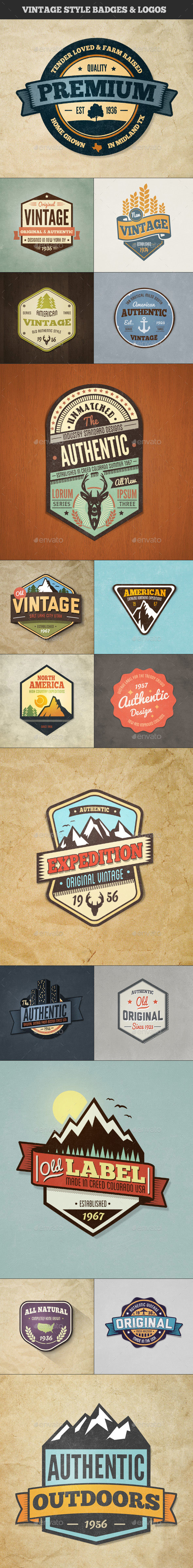 Vintage Style Badges and Logos - Colored Vol 3 - Badges & Stickers Web Elements