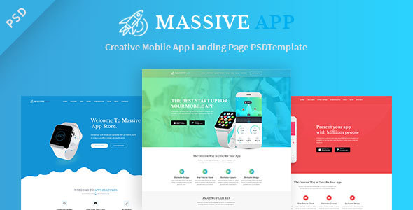 Massive APP Landing Page PSD Template - Marketing Corporate