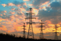 High voltage power transmission line. Silhouette electricity post on sunset background - PhotoDune Item for Sale