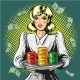Vector Pop Art Illustration of Woman with Gambling - GraphicRiver Item for Sale