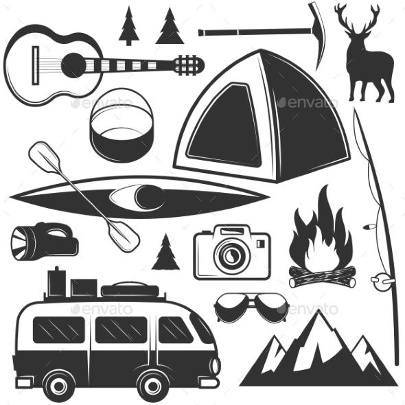 Set of Camping Objects Isolated on White - Decorative Symbols Decorative