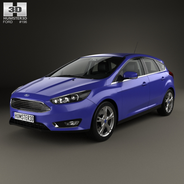Ford Focus hatchback with HQ interior 2014 - 3DOcean Item for Sale