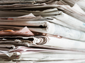 Closeup Of Pile of Old Newspapers for Recycling