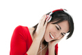 Brunette Woman Listenin to Music With Red Headphones - PhotoDune Item for Sale