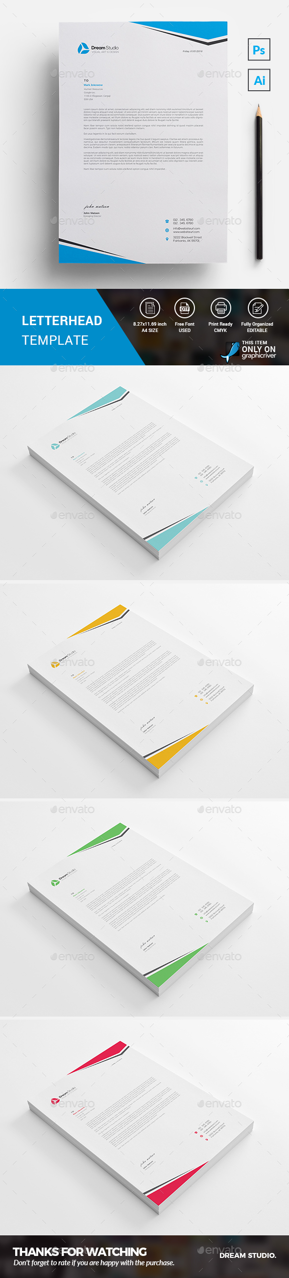 Letterhead template by dreamstudio eg graphicriver letterhead template stationery print templates spiritdancerdesigns Choice Image