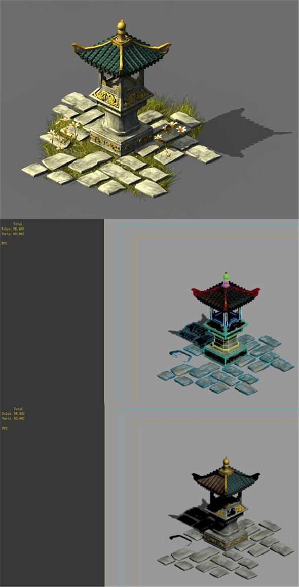 Game model - Garden - Stone lantern - 3DOcean Item for Sale