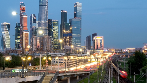 VideoHive Evening Traffic in Near Moscow New City 20162727