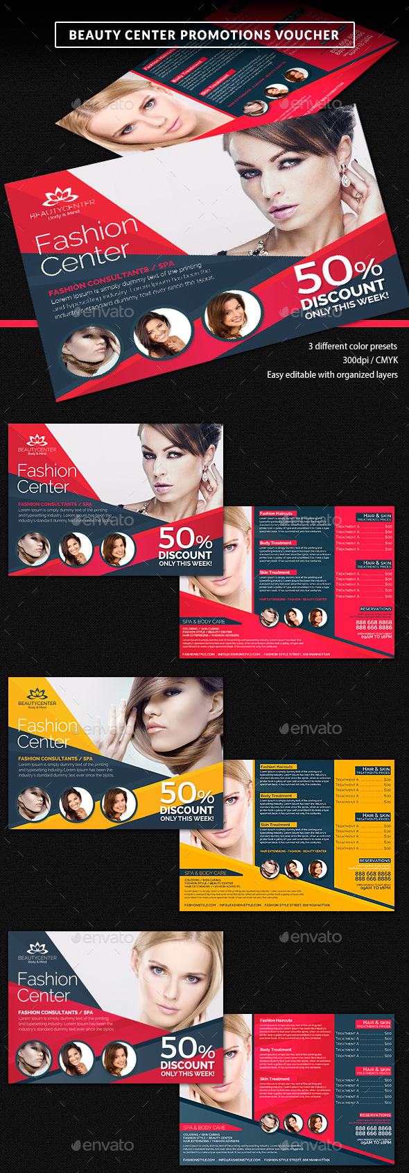Beauty Center Discount Voucher Template - Cards & Invites Print Templates