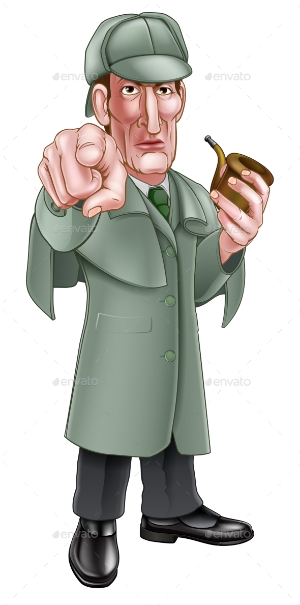 Pointing Sherlock Holmes Cartoon - People Characters