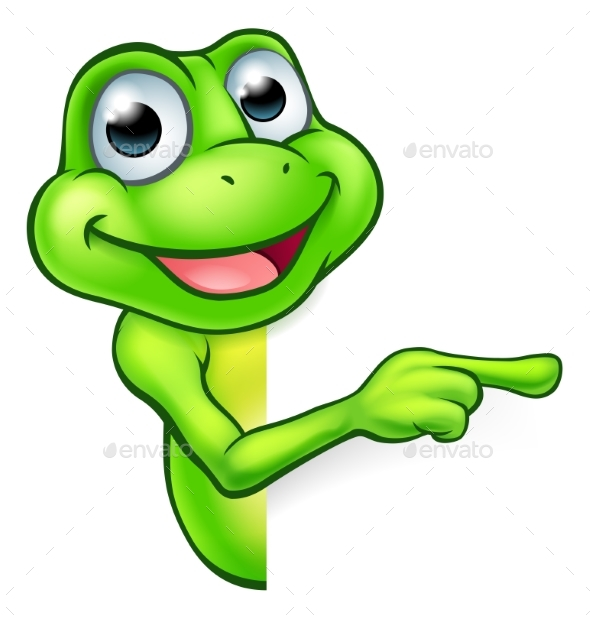 Pointing Cartoon Frog - Animals Characters
