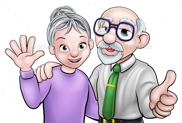 Elderly Cartoon Couple - People Characters