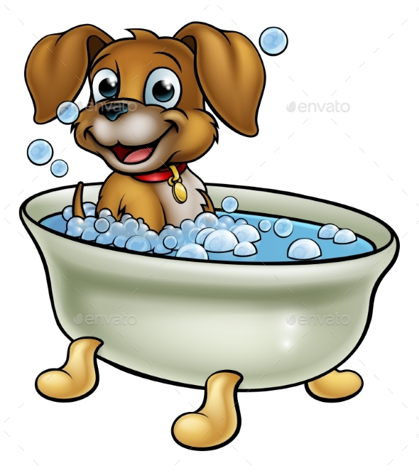 Dog in the Bath Cartoon - Animals Characters