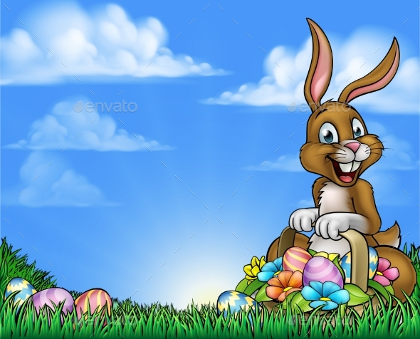 Easter Bunny and Eggs Background - Backgrounds Decorative