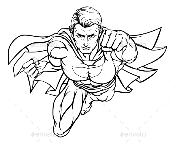 Flying Super Hero - Miscellaneous Vectors