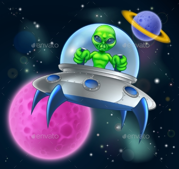 Alien UFO Flying Saucer in Space - Backgrounds Decorative