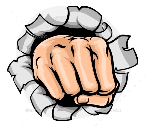 Fist Hand Punching Hole - Backgrounds Decorative