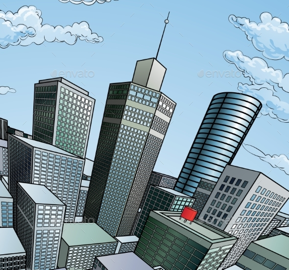 City Buildings Background - Buildings Objects