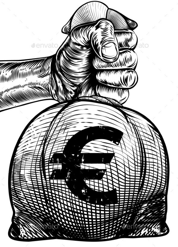 Hand Holding a Euro Sign Burlap Sack Money Bag - Miscellaneous Vectors