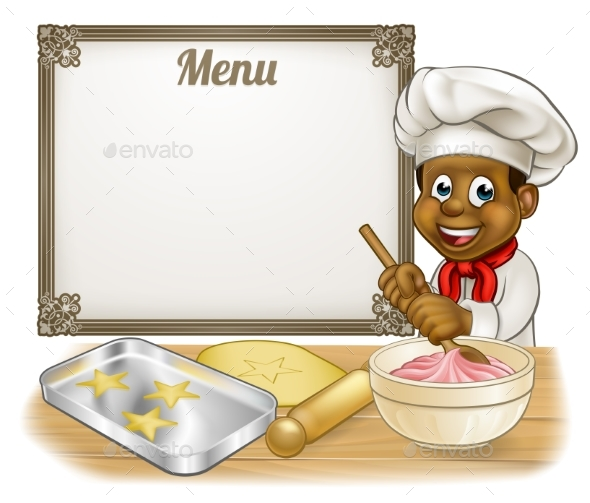 Black Baker or Pastry Chef Menu Sign - Miscellaneous Vectors