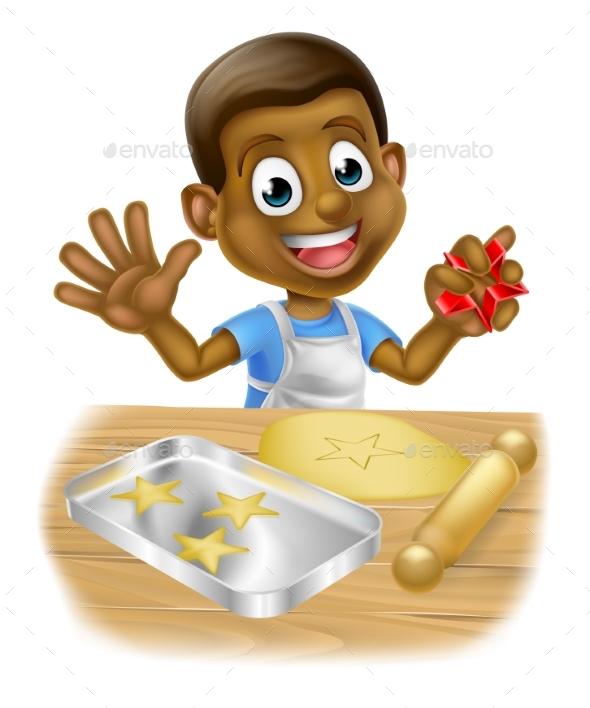 Cartoon Boy Baking Cookies - Miscellaneous Vectors