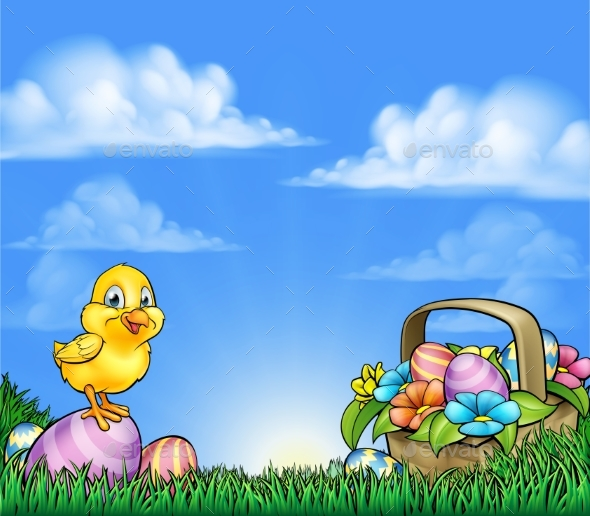 Cartoon Easter Eggs And Chick Background - Animals Characters