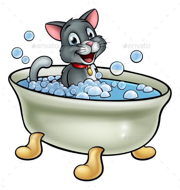 Cartoon Cat Washing in the Bath - Animals Characters