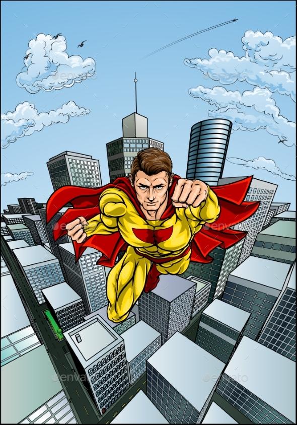 Flying Caped Superhero City Scene - Miscellaneous Vectors