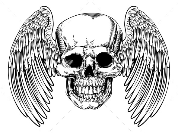 Grim Reaper Winged Skull - Animals Characters
