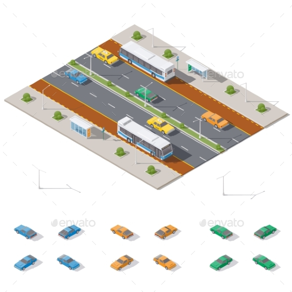 Bus Stop and Two Way Road Architecture Isometric - Miscellaneous Vectors