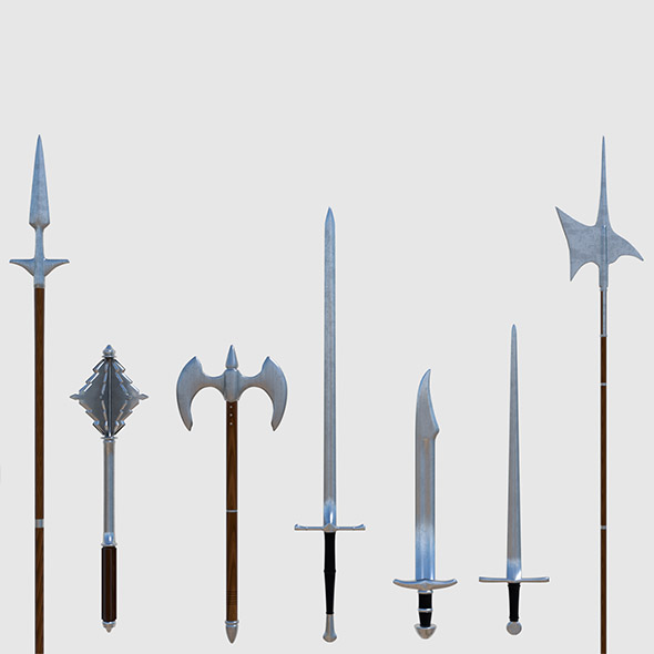 Medieval Weapons Pack - Game Ready - 3DOcean Item for Sale