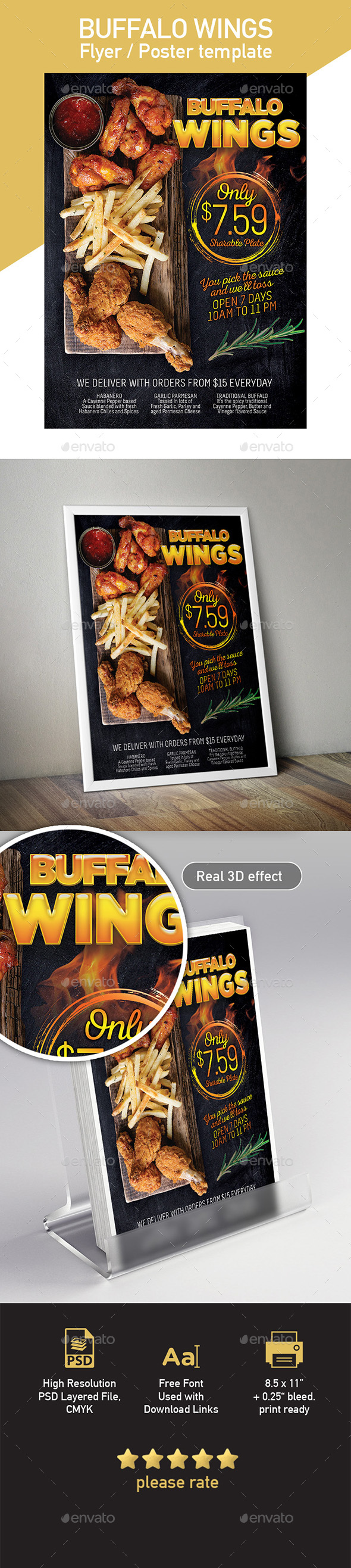 Wings Fast Food Flyer Poster Template - Restaurant Flyers