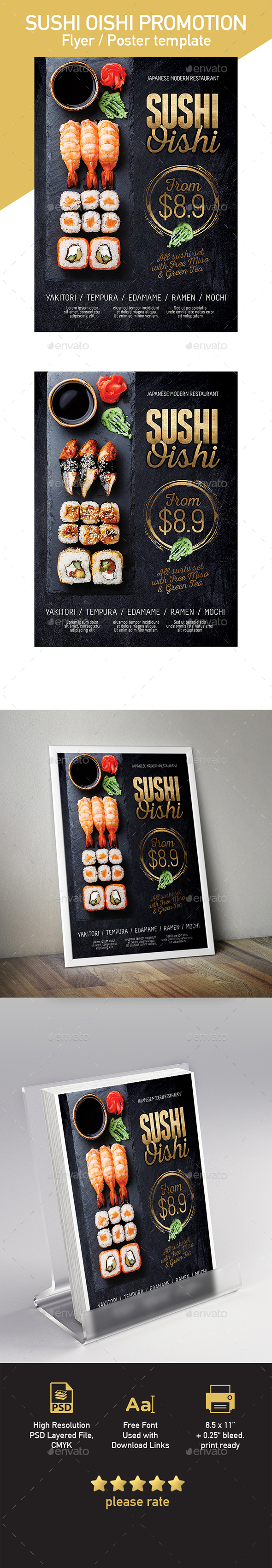 Japanese Sushi Flyer / Poster Template - Restaurant Flyers