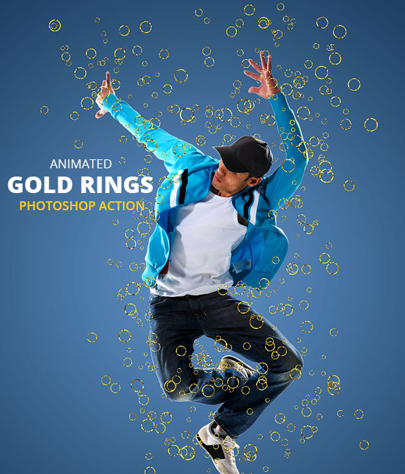 Animated Gold rings Photoshop Action - Photo Effects Actions