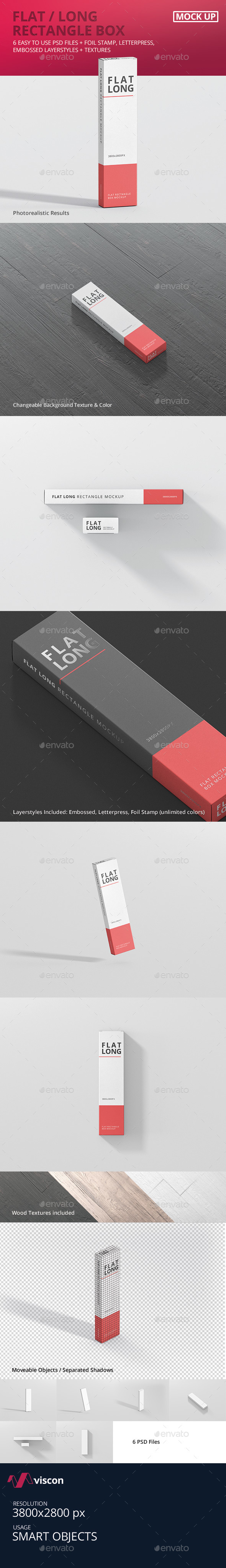Box Mockup - Flat Long Rectangle - Miscellaneous Packaging