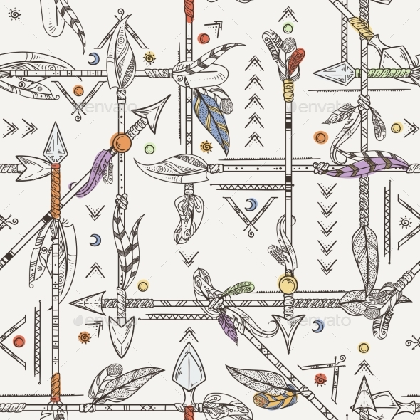 Seamless Patterns with Indian Arrows. Hand Drawn - Backgrounds Decorative