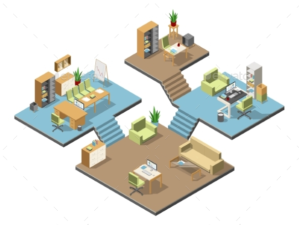 Different Isometric Modern Offices with Furniture - Miscellaneous Vectors
