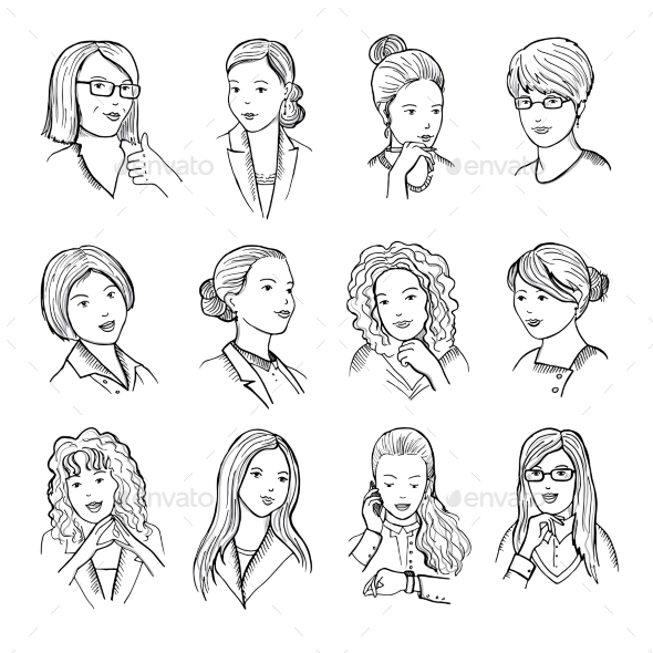 Hand Drawn Peoples with Funny Smiling Faces and - People Characters