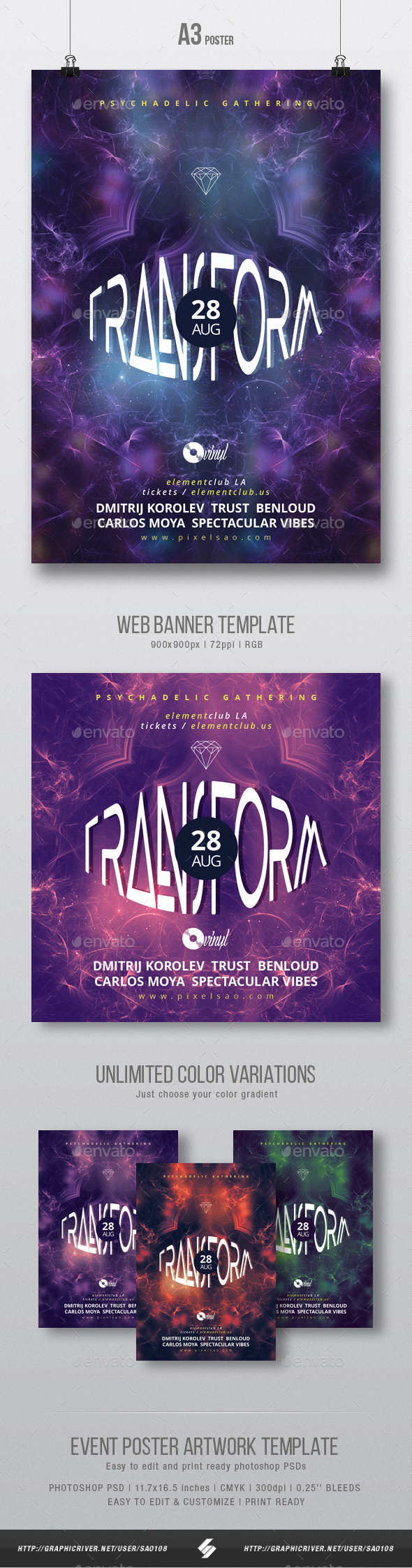 Transform - Psytrance Flyer / Poster Artwork Template A3 - Clubs & Parties Events
