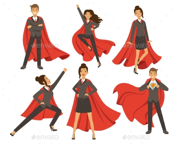 Businesswoman in Action Poses. Female Superhero - People Characters