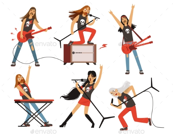 Guitar, Amplifier and Other Music Equipment. Rock - People Characters