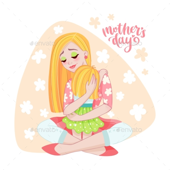 Mothers Day Card with Mom and Her Child - People Characters