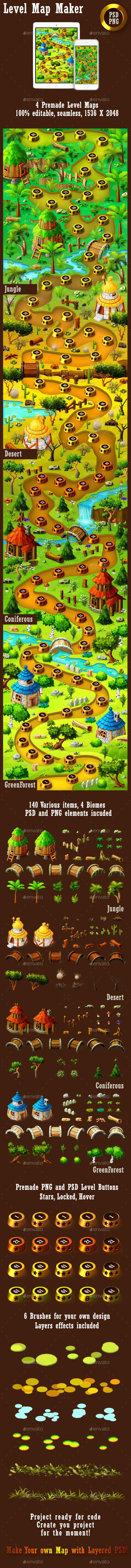Forest Game Level Map Maker - Backgrounds Game Assets