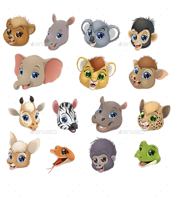 Set of Animal Heads - Animals Characters