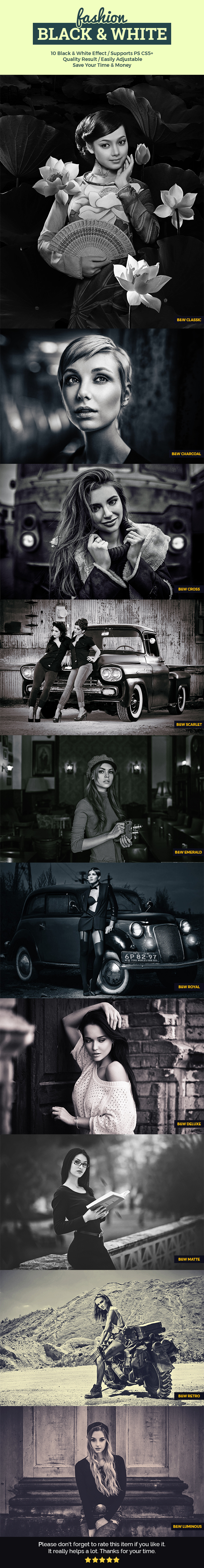 Fashion Black & White - Photo Effects Actions