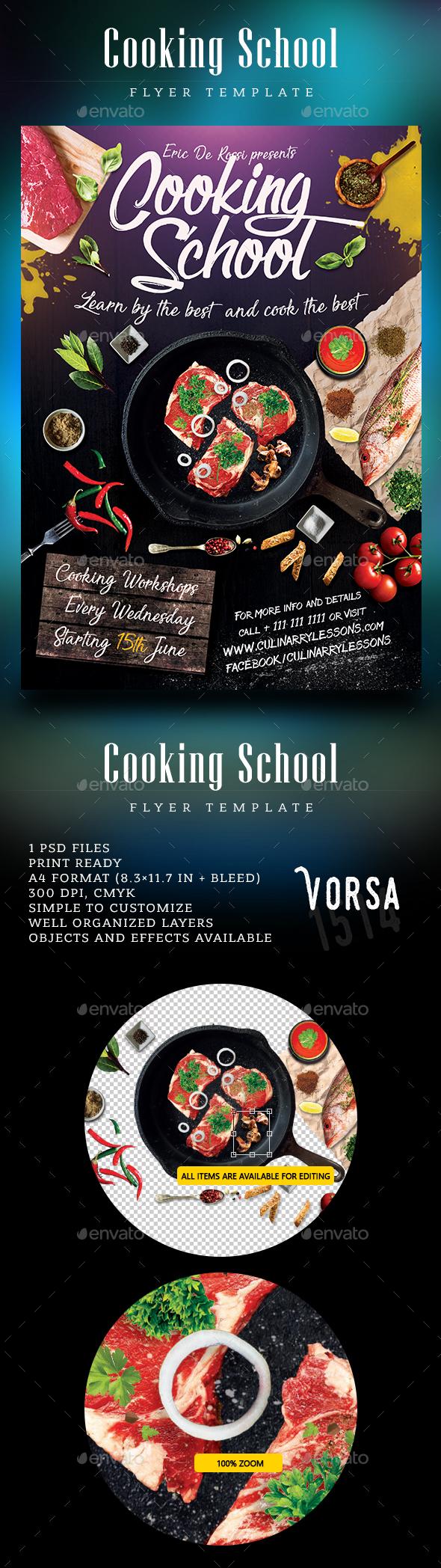 Cooking School Flyer - Restaurant Flyers