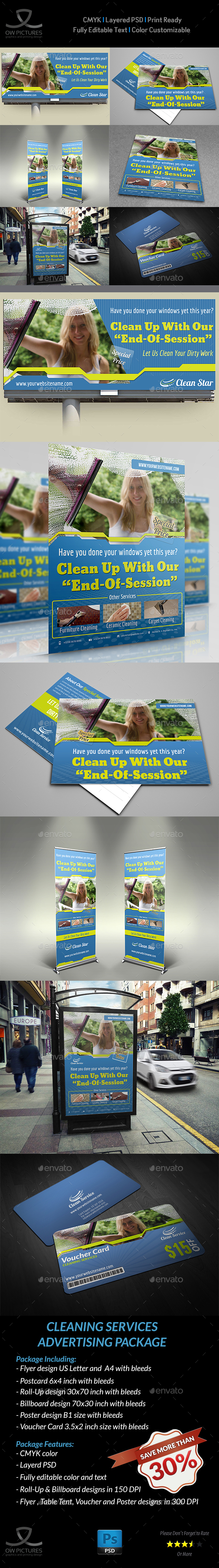 Cleaning Services Advertising Bundle - Signage Print Templates