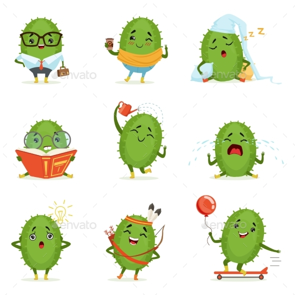 Cactus Cartoon Characters Set - Miscellaneous Characters
