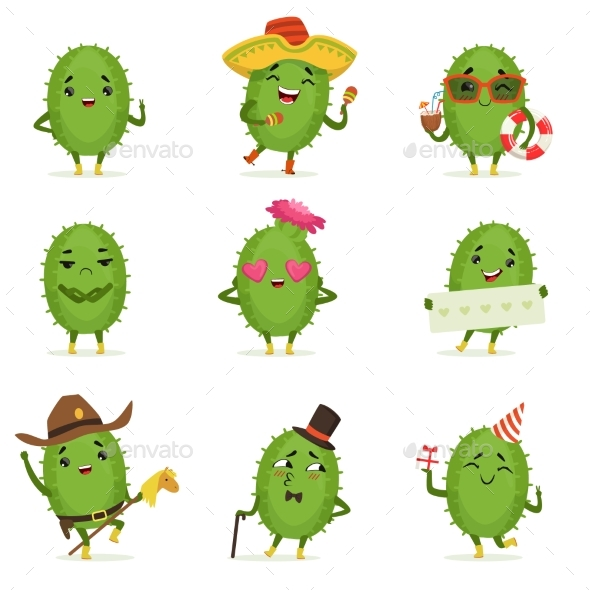 Cactus Cartoon Characters Set - Miscellaneous Vectors